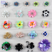 Handmade Flower Sequins Sew On Patches Butterfly Beaded Embroidered Cloth Applique Badge Fabric Apparel Sewing Crafts