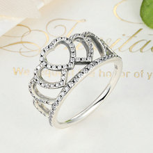 100% 925 Sterling Silver Hearts Tiara, Clear CZ Women Finger Ring Compatible with Original Jewelry,925 silver crown ring jewelry
