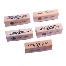 CCINEE 5 Styles Wood Stamp 7cmx2cmx2.5cm Size Used For Gift Decoration Wooden Rubber Stamp