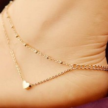 2017 New Beach Jewelry Sexy Gold Love Heart And Ankle Bracelet Double Chain Foot Ankle Free Shipping Distribution Gift