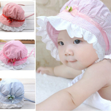 New Fashion Lovely Fishing Lace Bowknot Baby Girl Hat Striped Summer Unisex Children's Sun Cap Hats gorras bonnet