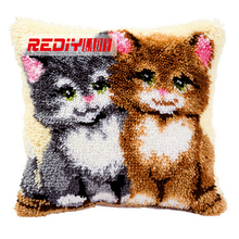 HOT 3D Latch Hook Cushion Kits Gift DIY Needlework Crocheting Throw Pillow Unfinished Yarn Embroidery Pillowcase Two Kittens(China)