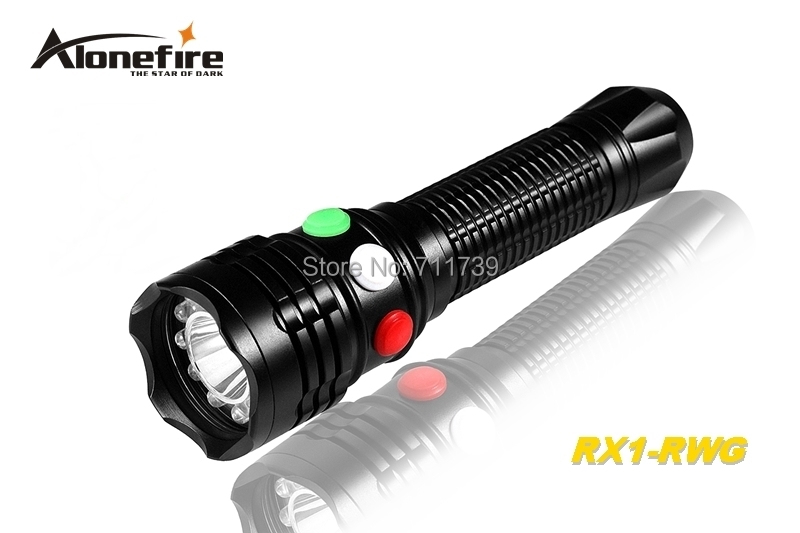 AloneFire RX1-RWG CREE Q5 LED Red White Green light Multi-function railway signal lamp flashlight torch light For 3xAAA or 18650<br>