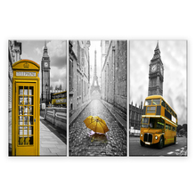 3 Panels Yellow Telephone Booth Yellow umbrella Bus Eiffel Tower HD Prints Wall Art Painting Prints in the Canvas For home decor(China)