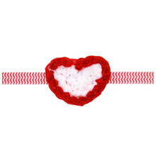 2017 Sweety girls heart headbands red&white hand making chiffon flower head wear dad's valentine's day gifts for kids 10pcs/lot