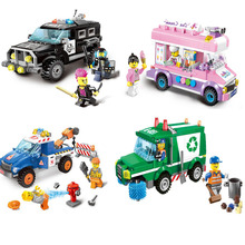 Enlighten Bricks City Series Swat Car Ice Cream Truck Road Obstacle Car Building Blocks Bricks Toys Gifts For Children(China)