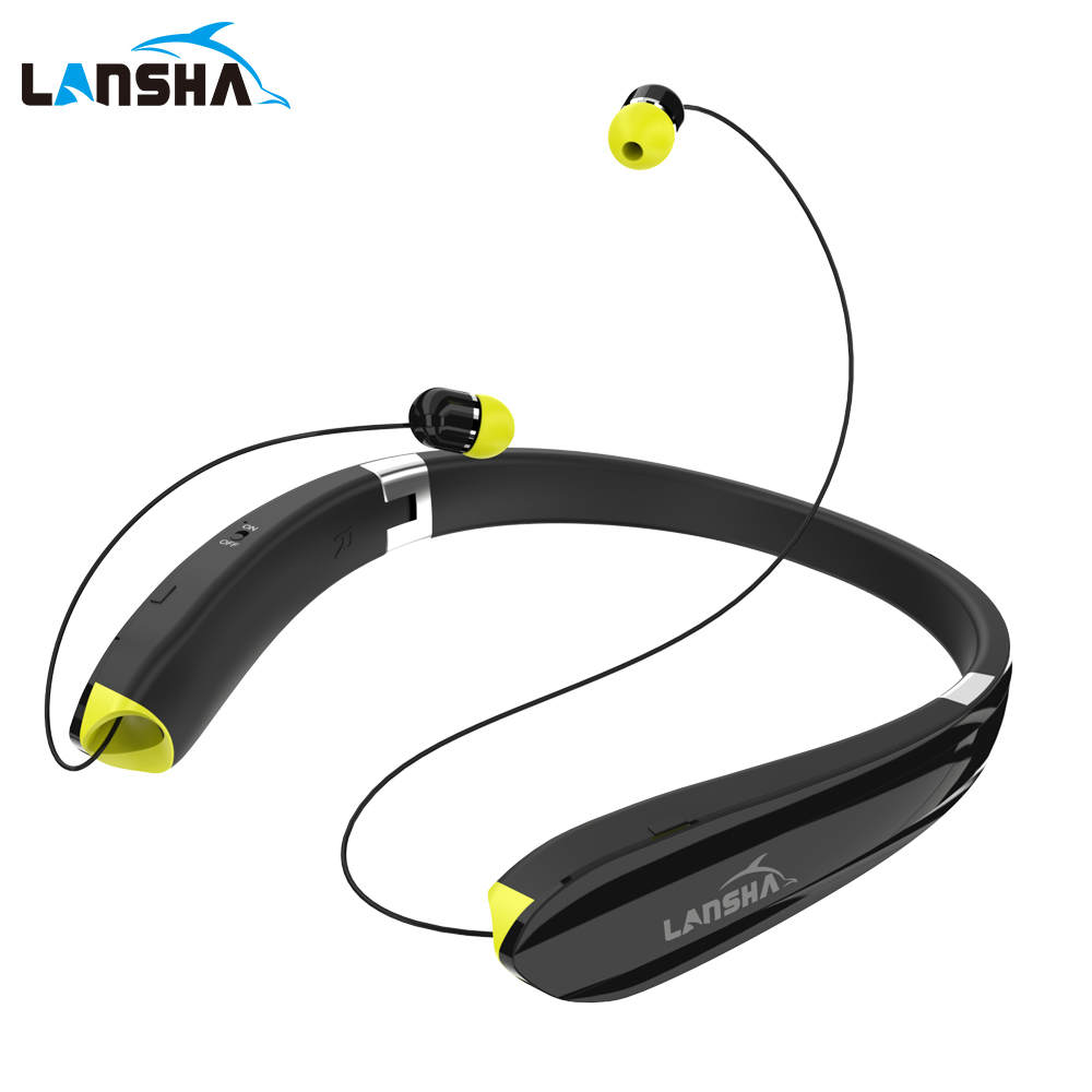 LANSHA Neckband long standby HiFi Foldable Bluetooth headphone 4.1 sports wireless earphone headset with mic for a mobile phone<br>