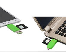 Fashion Universal Card Reader Mobile phone PC card reader Micro USB OTG Card Reader OTG TF / SD flash memory Wholesale