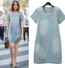 5XL Plus Size Dress 2017 Women's Summer Clothing Fashion Washed Denim Jeans Beaded Casual O Neck Big Size 4XL Dresses Vestidos