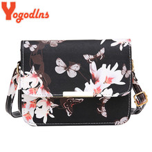 Yogodlns Luxury Women Bags Design Small Satchel Women bag Flower Butterfly Printed PU Leather Shoulder Bag Retro Crossbody Bag(China)