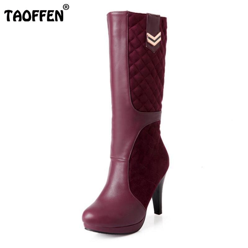 TAOFFEN Size 33-43 Women Half Short Boots High Heel Boots For Cold Winter Shoes Platform Warm Mid Calf Botas For Women Footwears<br>
