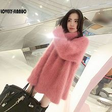 A new large in the long hair female mink cashmere sweater loose thickened sleeve head tide free shipping JN308