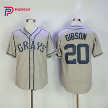 Josh Gibson shirt #20 Homestead Grays Negro National League Button Down Baseball Jersey Grey Stitched Throwback Mens(China)