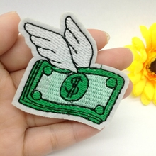 Retail 1pcs Wings Coins US Dollars $ Embroidered Iron on Patches Appliques DIY Apparel Accessories Sewing Accessories Patchworks(China)