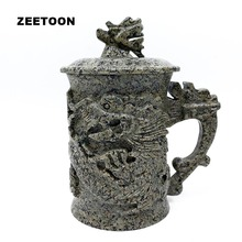 420cc Longevity Dragon Head Mug Natural Medical Stone Health Care Teacup Chinese Tea Set Office Coffee Mug Leading Master Cup(China)
