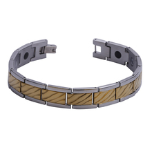 "Mens12MM Titanium Magnetic Therapy Link Bracelet Negative Ion Germanium Power Health Wrist Band 8.5"" Golden Silver Tone"