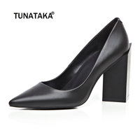 Women Genuine Leather High Heels Party Shoes Pointy Toe Fashion Special Chunky Heel Pumps