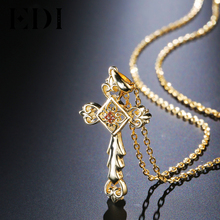 EDI Natural Garnet Gemstone Religious Cross Pendant 925 Sterling Silver 18K Gold Fine Jewelry Chain Necklace for Women Party(China)