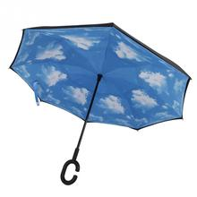 New Modern Upside Down Reverse Umbrella C-Handle Double Layer Inside-Out Blue Sunny Sky Umbrellas -NG