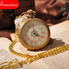 Luxury Classical Golden No Front Cover Well-Decorated Dial Roman Numbers Key Chain Mechanical Pocket Watch 100pcs/lot PW285