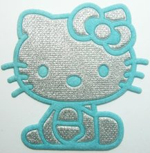 FREE SHIPPING ~ Blue Hello Kitty Iron On Patches Clothes Tee Shirt Hat Jean shoes Jacket Pet Clothing Silvery Gifts