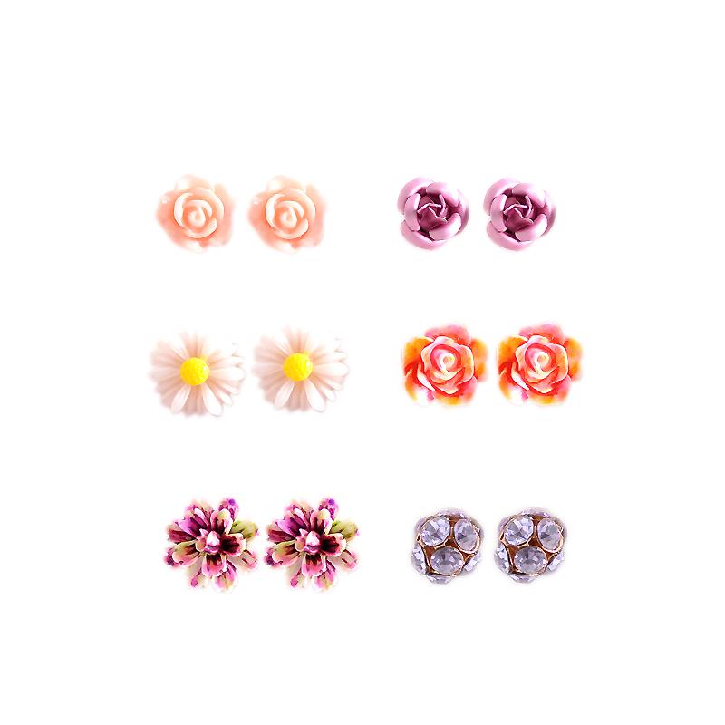 Hot new fashion women jewelry, girls birthday party flower shaped stud earrings, beautiful powder, purple yellow green Earrings 29