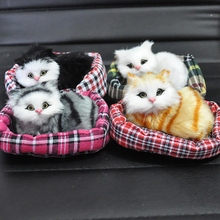 Plush Sounding Simulation Mini-nest Cat Car Decoration Ornaments Kids Toy Cute Kitten Automobile Interior Decor Accessories Gift(China)
