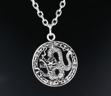 1 pcs New Fashion Antique Silver Charms Chinese Dragon Pendants Necklaces Statement Choker Jewelry For Men Women Girl Best Gift(China)