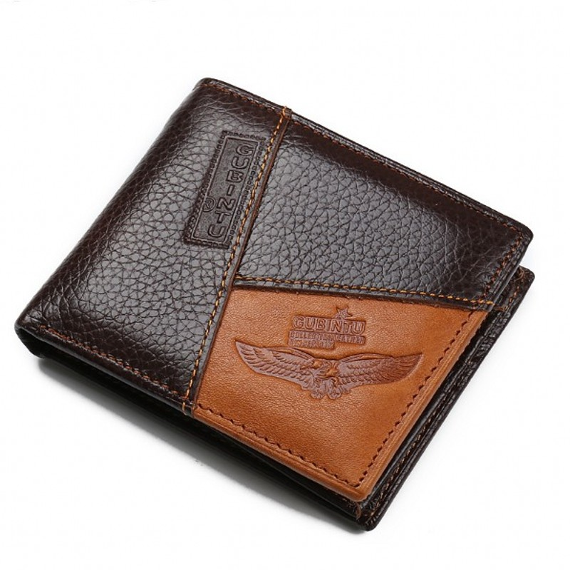 Mens Wallets Coin Pocket Zipper Coin Purse Card Holder patchwork cartera Casual Short Coffee Genuine Leathe wallet men gift<br><br>Aliexpress