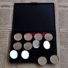 12 Holes Empty Magnetic Eye shadow Pigment Palette Pans Press Your Own Makeup with 12 pieces Metal Tins