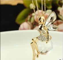 BS1981 2017 New crystal stone fairy pendant necklace long chain cute design wholesale women Sweater necklace