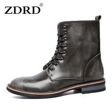 ZDRD New Fashion Men Martin Boots 100% Genuine Leather Men Winter Boots Casual Breathable Lace-up Designer Men Motorcycle Shoes(China)