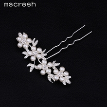 Mecresh Elegant Synthetic Pearl Bridal Hair Combs Hairpins Crystal Wedding Hair Jewelry FS004
