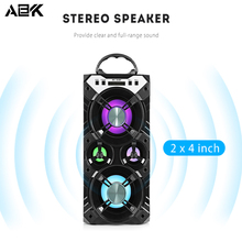 ALBK 264BT Wireless Bluetooth Speaker Portable Stereo LoudSpeaker with LED Lighting Effects TF Crad USB Support Mic for Phone PC