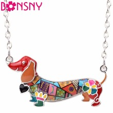 Bonsny Enamel Statement Maxi Pet Dachshund Dog Choker Necklace Alloy Pendant Chain Collar 2017 New Animal Jewelry For Women(China)