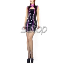 Buy Rubber cheongsam mini dresses Chinese style Suitop  Latex tank Black color