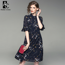 spring summer woman dress white flower yellow leaf pattern print dark blue dress stand collar flare sleeve knee length dress(China)
