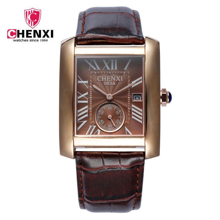 Luxury CHENXI Rome Rectangle Dial Dual Time Genuine Leather Quartz Dress Wrist Watch Wristwatches for Men Male Gold Silver 063A<br><br>Aliexpress