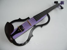 Full Size frame Electric Violin in purple With Bow Rosin Headphones 9V Battery(China)