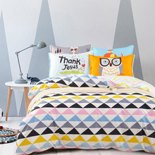 2016 Brief Bedding Set Lovely Cartoon Animals Owl Sunflower Bed Linen Bedding 4pcs for Home Textile Twin Queen Duvet Cover Sets