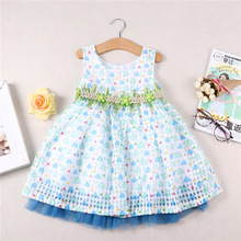 baby girl  children kids clothes girls dressing fashion blue princess flowers loose cozy sweet 2-7 yrs 2016 summer new dress