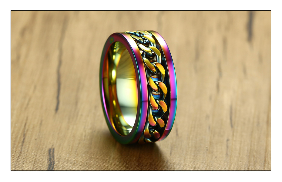 Meaeguet 8mm Wide Rainbow Stainless Steel Spinner Chain Ring For Men Women Hiphop Rock Style Wedding Bands Jewelry Gift (5)