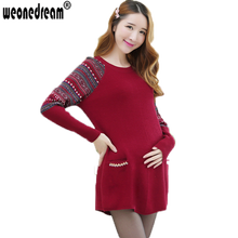WEONEDREAM Autumn and Winter Medium-long Plus Size Maternity Sweaters Dress Knitted Loose Pullovers Clothes for Pregnant Women