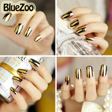 BlueZoo 3pcs Nail Stickers Full Cover On Nail Smooth Nail Art Decoration Gold Black Silver Nail Foil Wraps Patch Decals Beauty