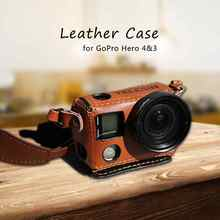 Brown Camera Leather Case Camra Holder Bag with Lanyard Neck Strap+37mm Filter UV Lens+Adapter Lens Cap for Hero3/4 GP-PRC-L04