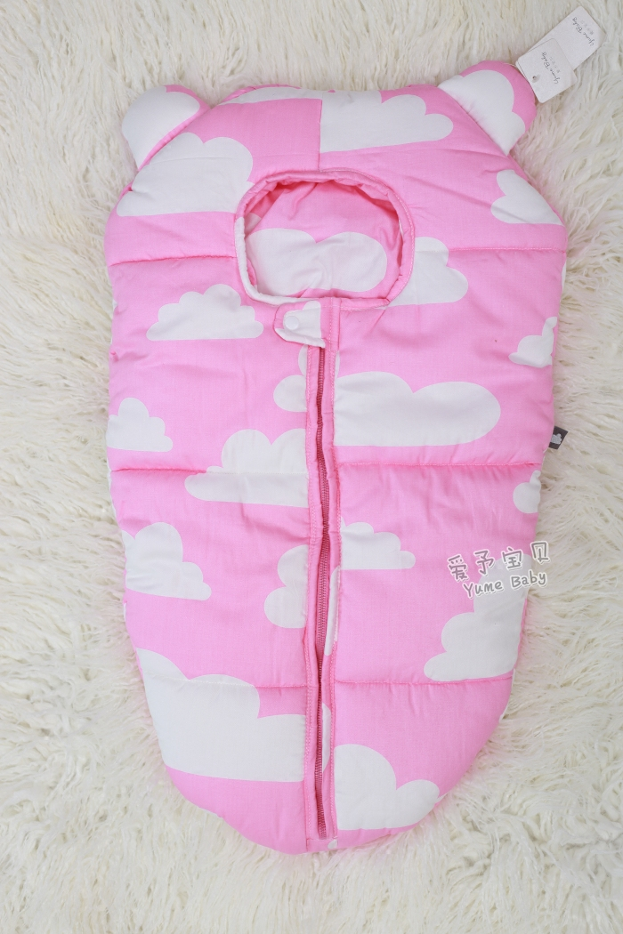 24colors Baby Sleeping bear pattern Baby Envelope Sleep Sack Coral Fleece Infant Holds for Stroller Blanket Swaddle Infant  0-6M<br>
