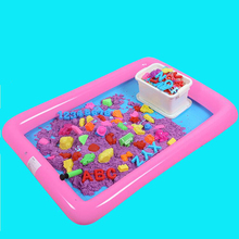 Plastic Inflatable Sand Tray Mobile Table For Children Kids Indoor Playing Sand Clay Color Mud Toys Accessories(China)