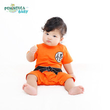 2017 New Summer Orange Chinese Kung fu Jumpsuit Baby Boy Cotton Short Sleeve Rompers Infant Kids Clothes 7716(China)
