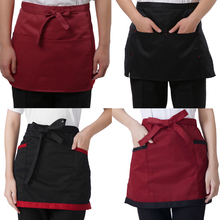 4 Style Universal Unisex Half Bust Bib Apron Restaurant Kitchen Coffee Tea Shop Waitress Uniforms Waist Short Apron with Pockets