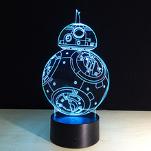 Star Wars BB8 LED Acrylic Table Lamp Toys Action Figures 7 Colors Changing Automatically Spiderman Hulk Deadpool